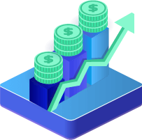Icon of an upward trend shown by stacking coins