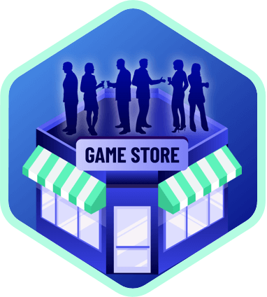 Icon of a game store filled with people