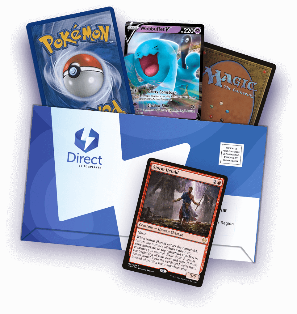 A TCGplayer Direct package overflowinf with Magic and Pokémon cards.