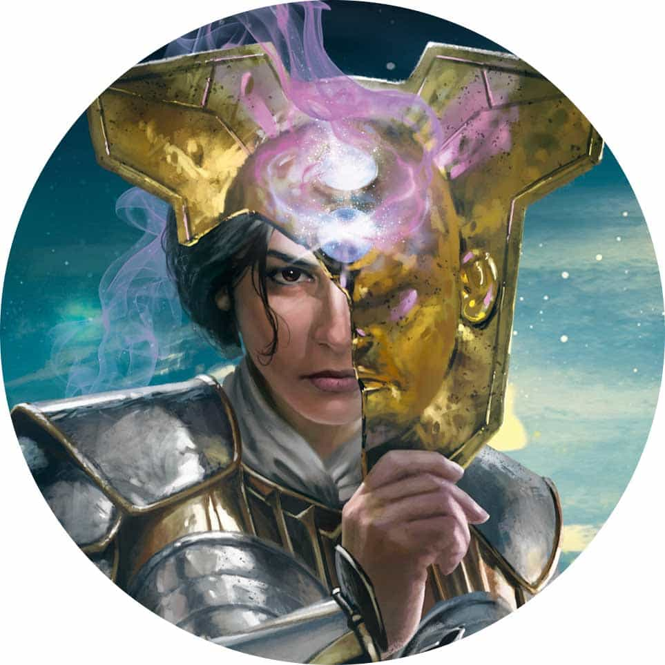 Circular image showing Elspeth in Theros: Beyond Death